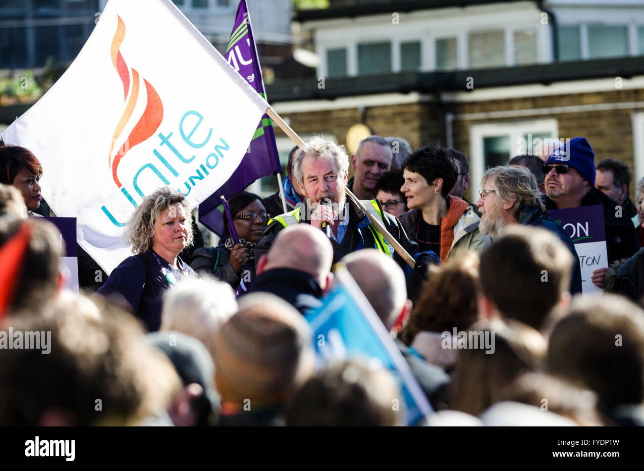 Brighton, UK. 26th April 2016. Sussex Defend The NHS March to Royal Sussex County Hospital from the Brighton Centre, - Stock Image