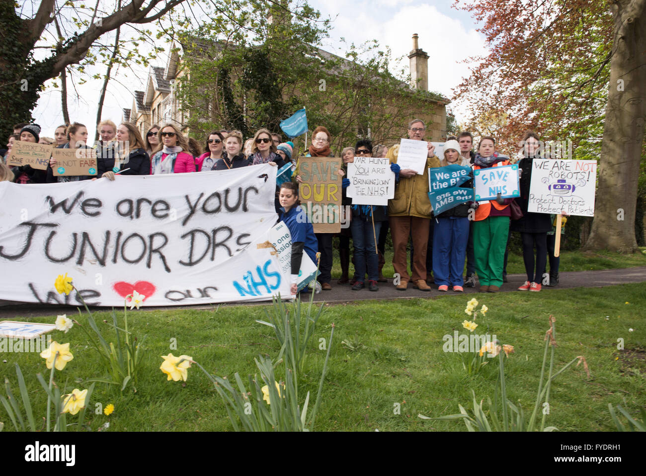 Bath, UK. 26th April, 2016. Bath, UK. 26th April, 2016. Junior doctors outside the Royal United Hospital in Bath. - Stock Image