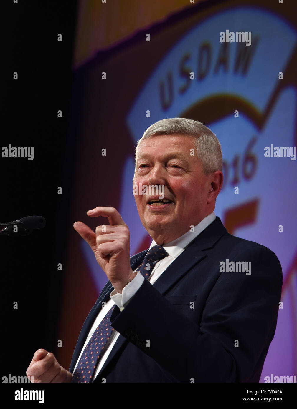 Blackpool, UK. 26th April, 2016. Alan Johnson MP Leader of the Labour In for Britain Campaign addresses the USDAW - Stock Image