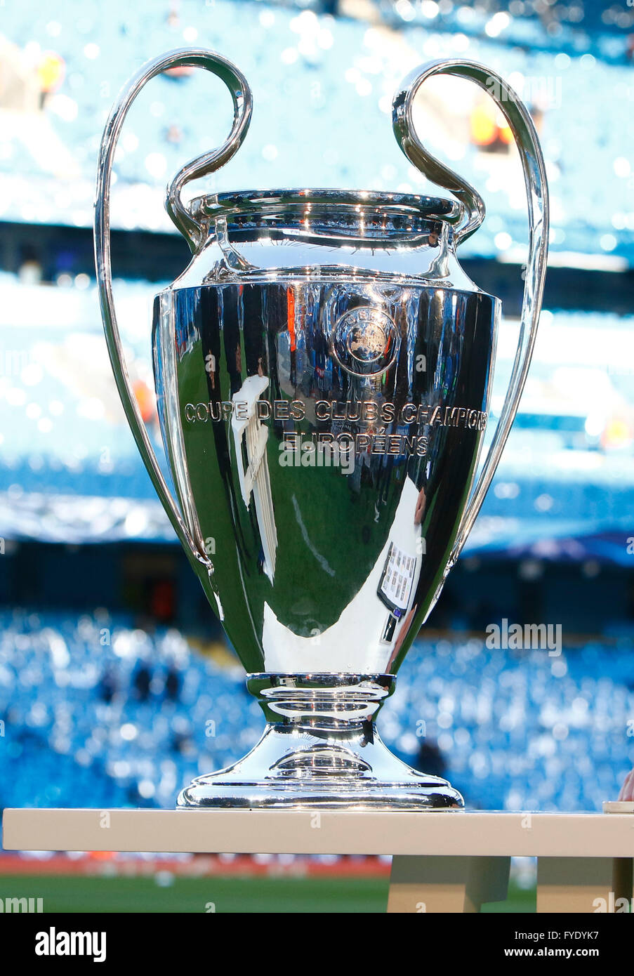 26th Apr 2016 UEFA Champions League Manchester City Versus Real Madrid The Trophy Pitchside Before Tonights Game
