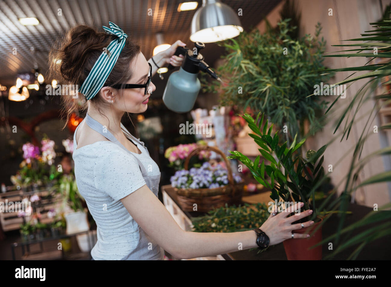 Smiling cute young woman florist standing and watering plants with water sprayer in flower shop - Stock Image