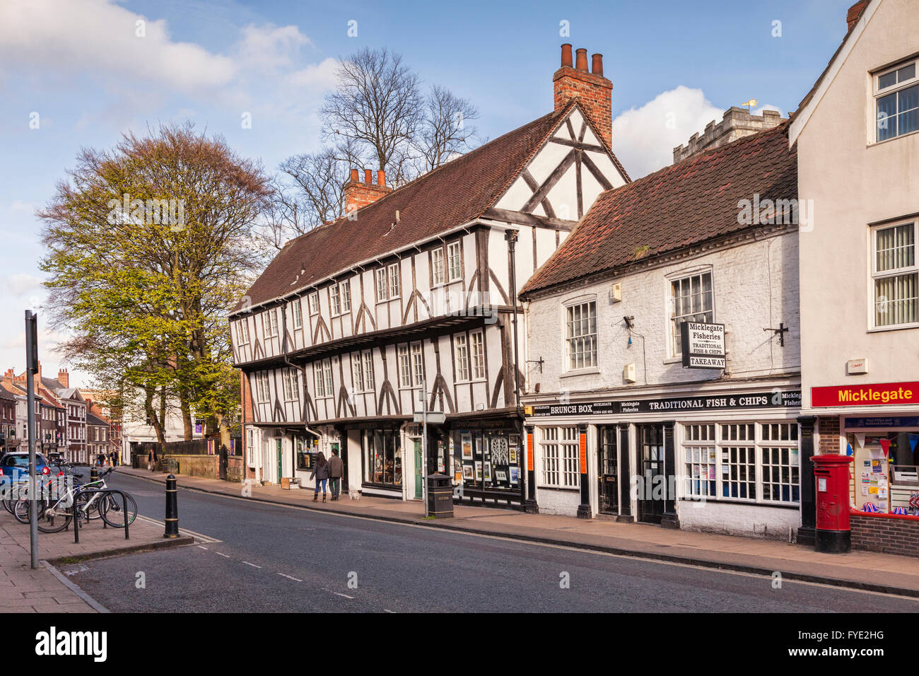 Black and white buildings in Micklegate, York, North Yorkshire, England, UK - Stock Image