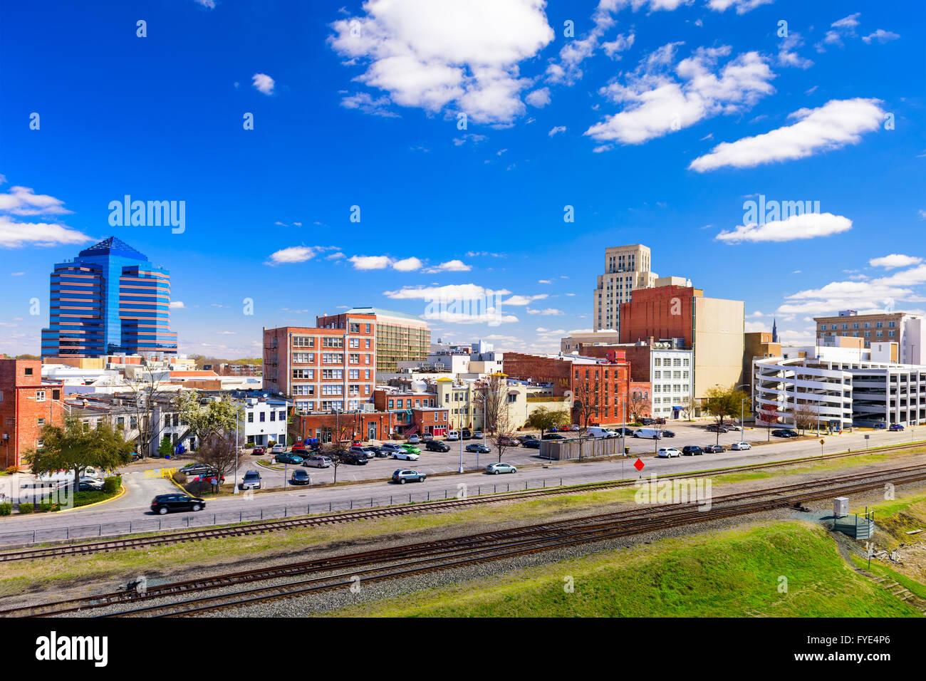 Durham, North Carolina, USA downtown cityscape. - Stock Image