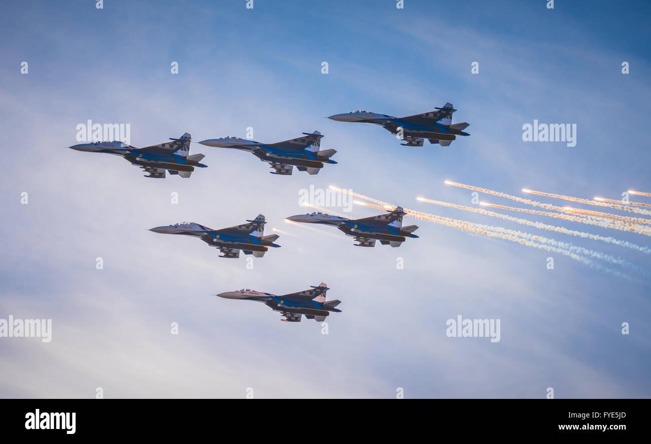 SAINT PETERSBURG, RUSSIA - April, 25, 2015: Flying display and aerobatic show of Russian Knights (Russkie Vityazi) - Stock Image