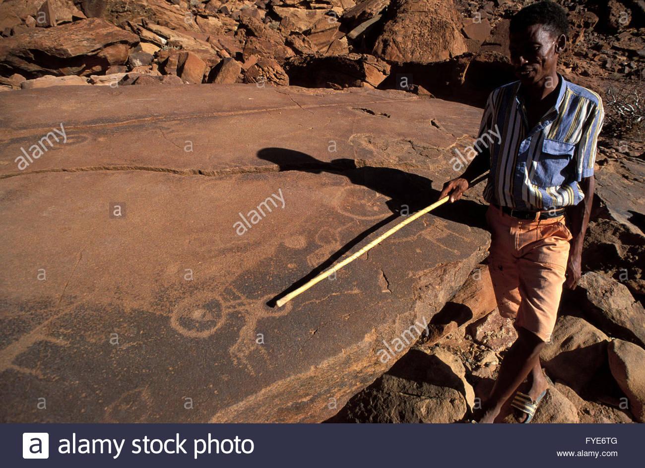 San animal petroglyphs in Twyfelfontein Namibia. - Stock Image