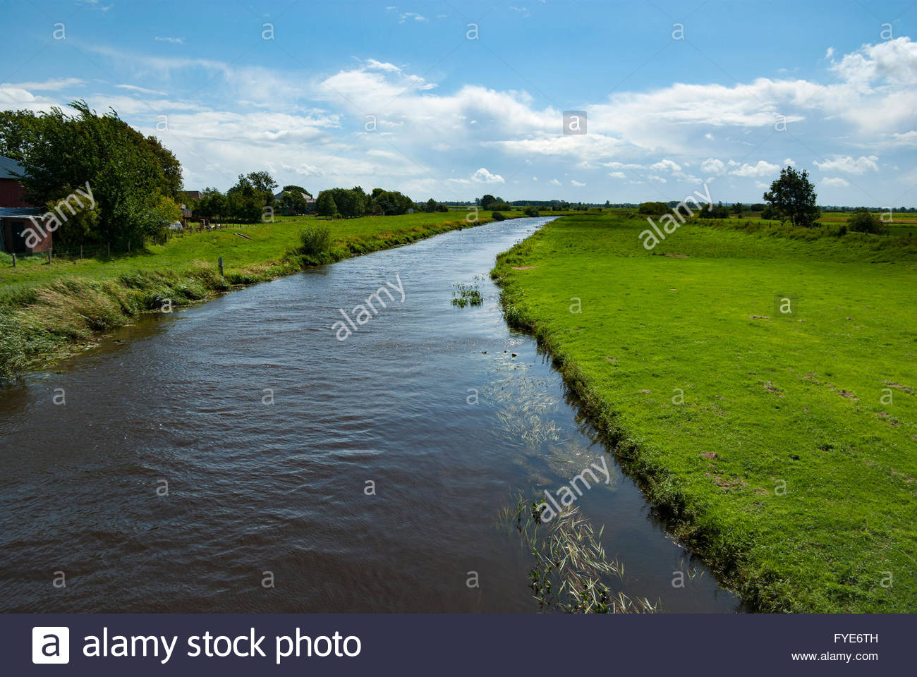 The Treene River near Hollingstedt, Germany, which the Vikings used to travel to the North Sea from Haithabu. - Stock Image
