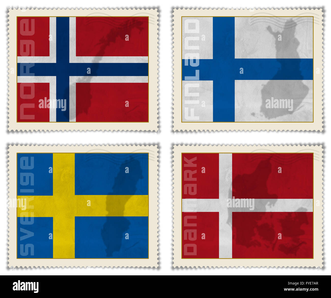 Europe stamps flags - Stock Image