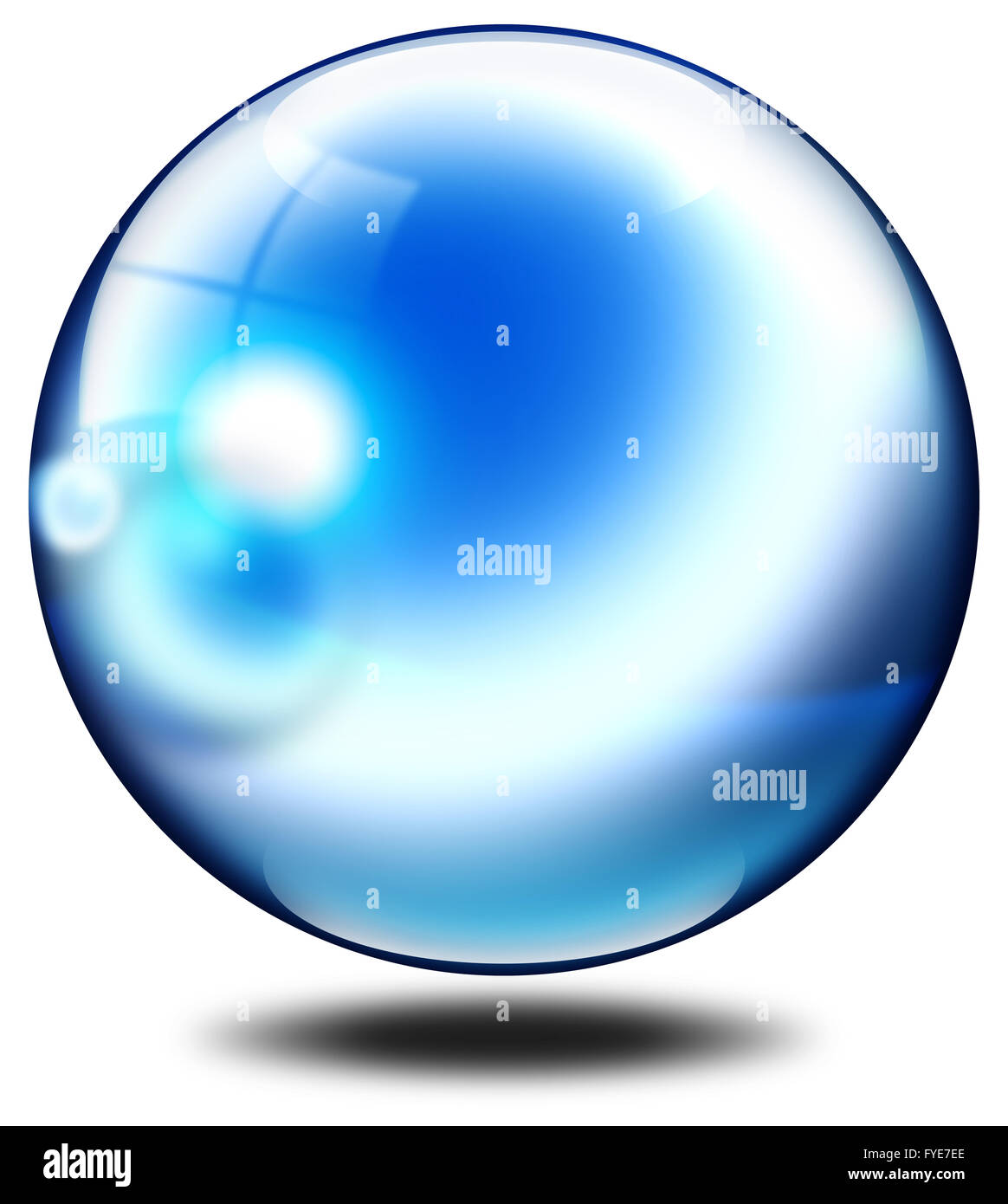 Blu bubble with gray shadow - Stock Image
