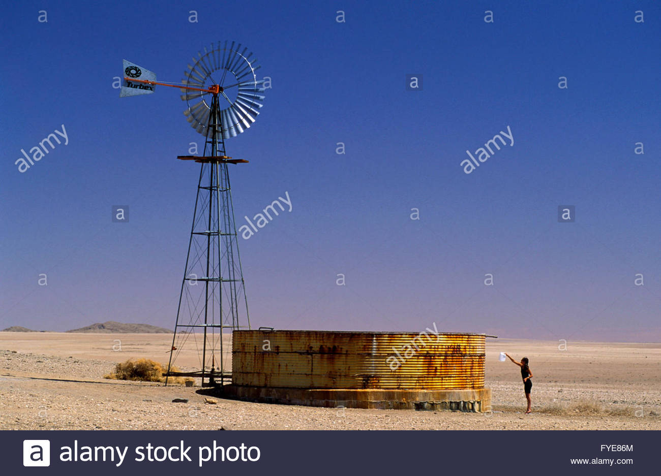 Water pumping windmill in Namib desert, Naukluft - Stock Image