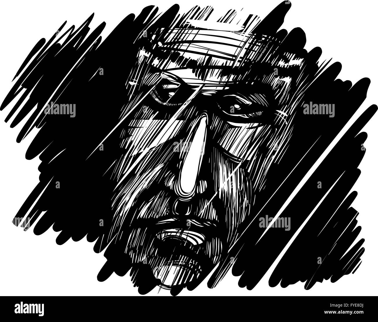 old man face in darkness - Stock Image