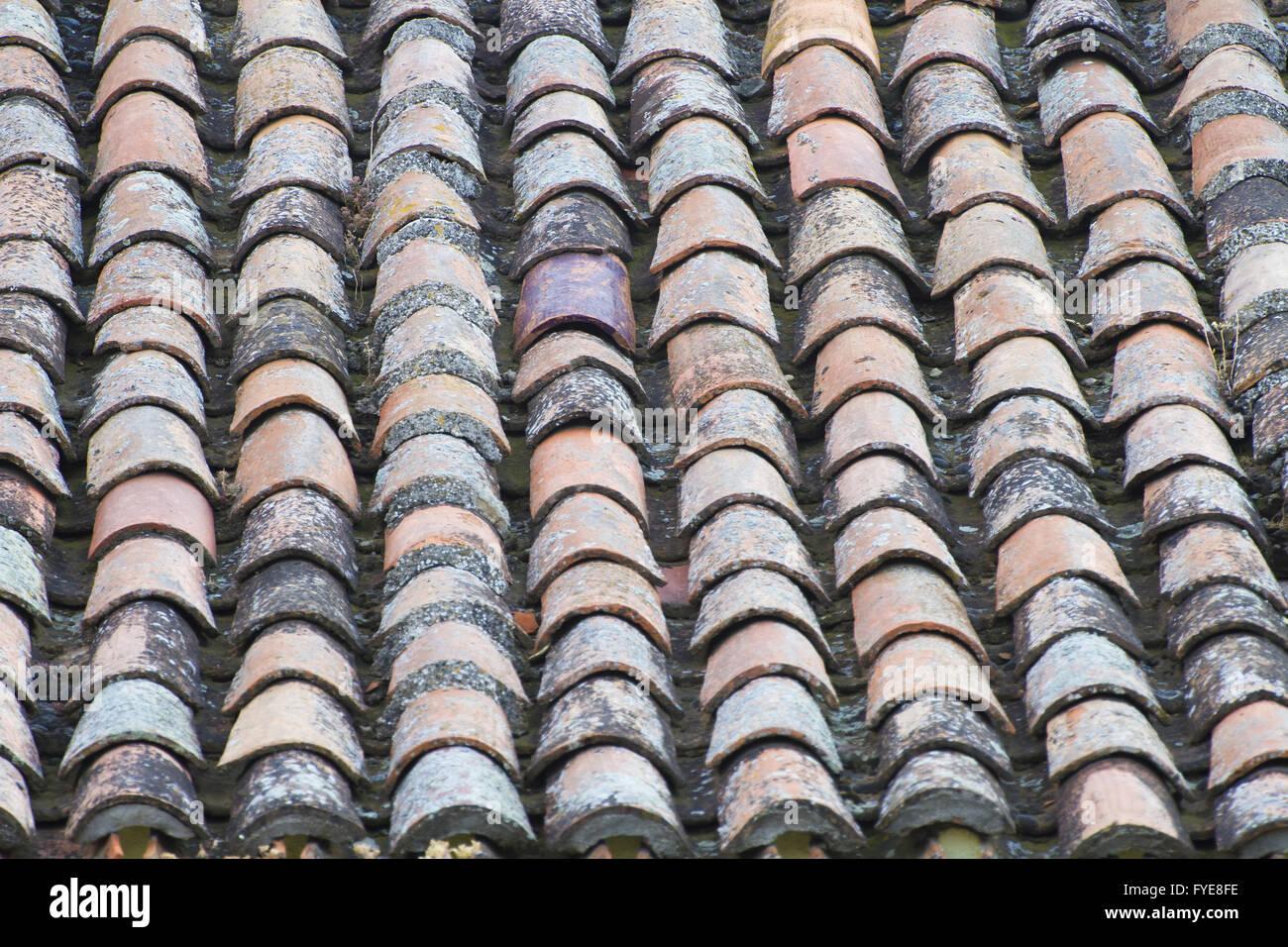 Antique roof tiles, spain architecture - Stock Image