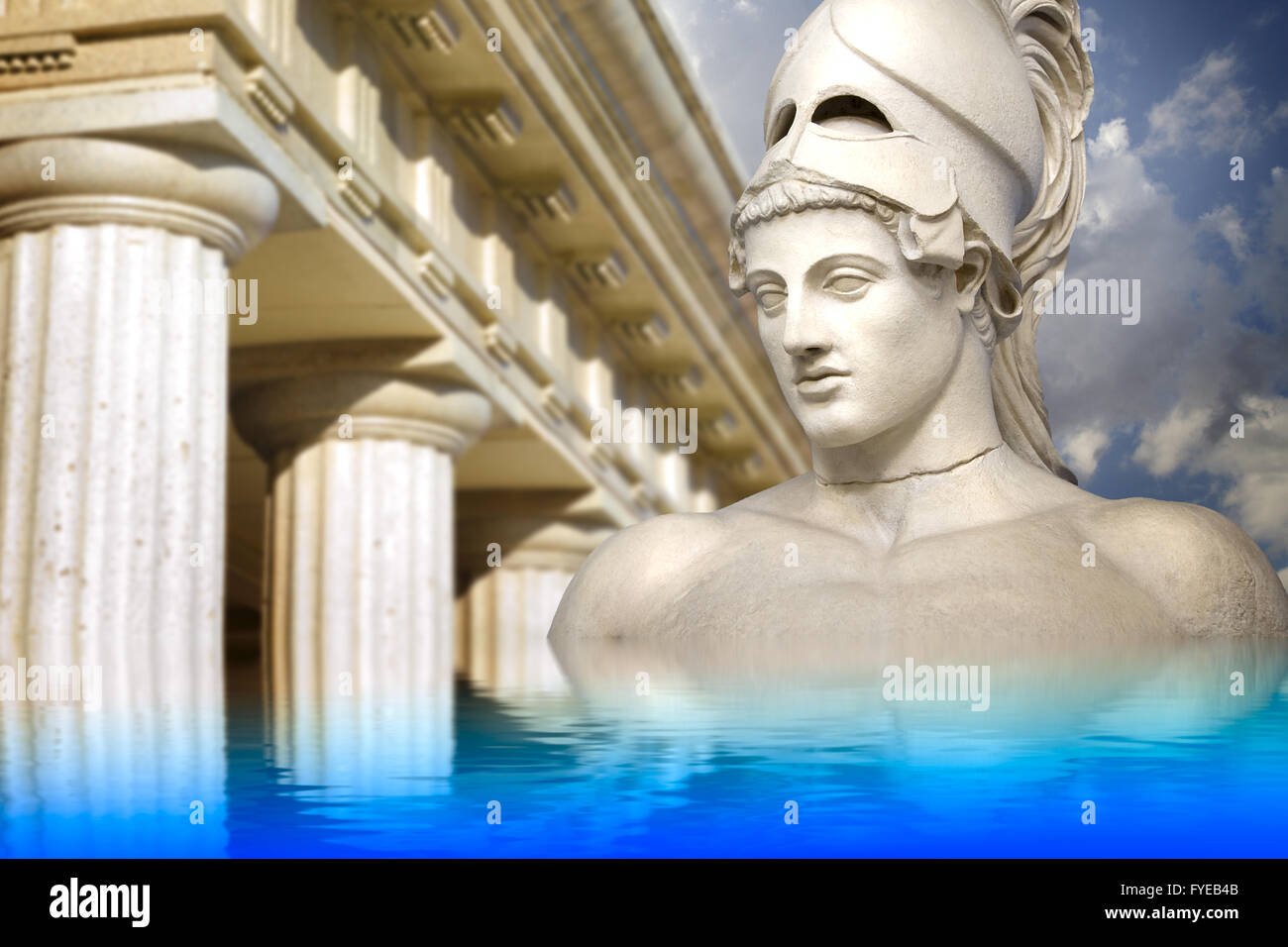 Greek sculpture of the General Pericles, Greek art reflected in a calm sea. - Stock Image