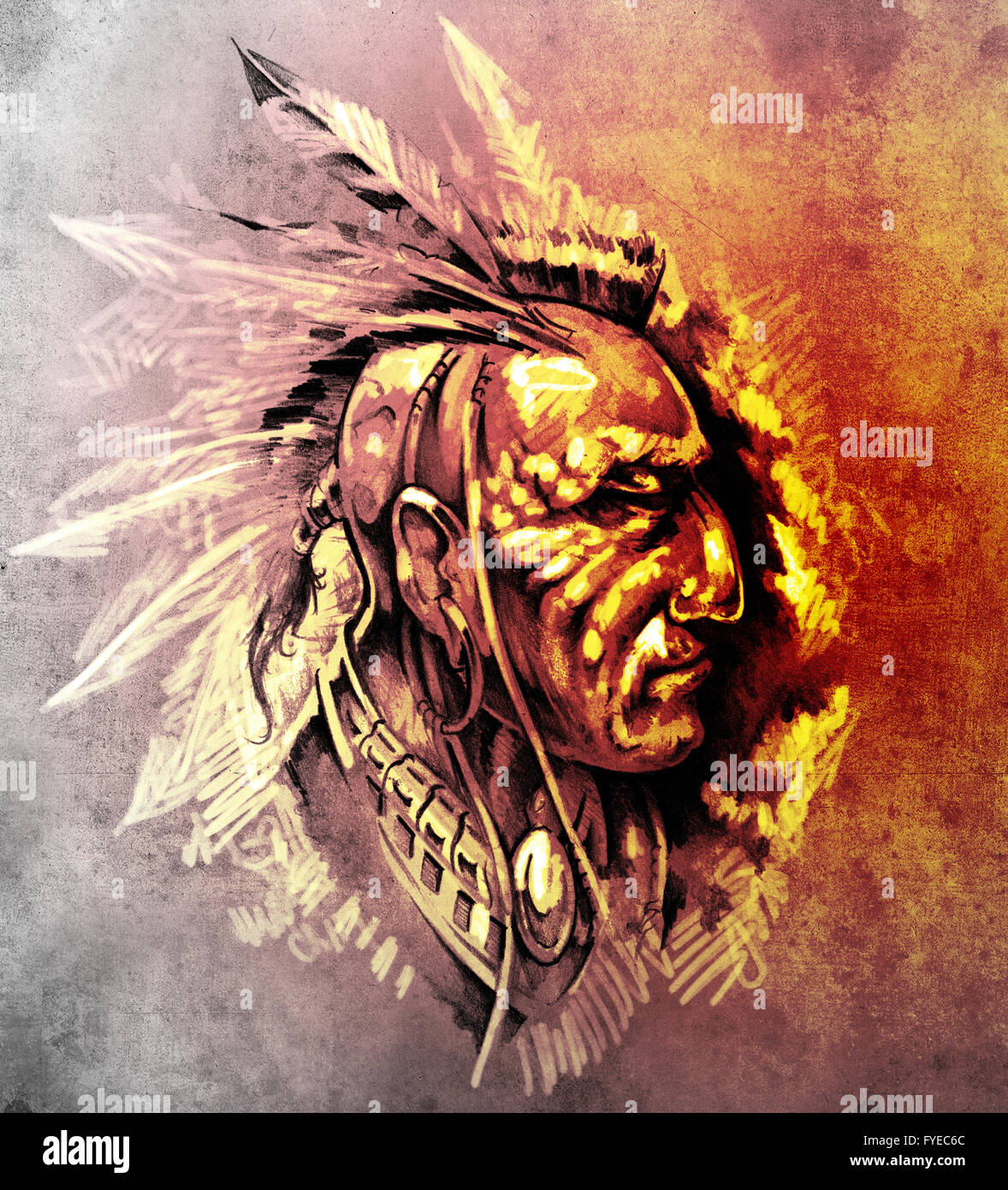 Sketch of tattoo art, American Indian Chief illustration over colorful paper - Stock Image