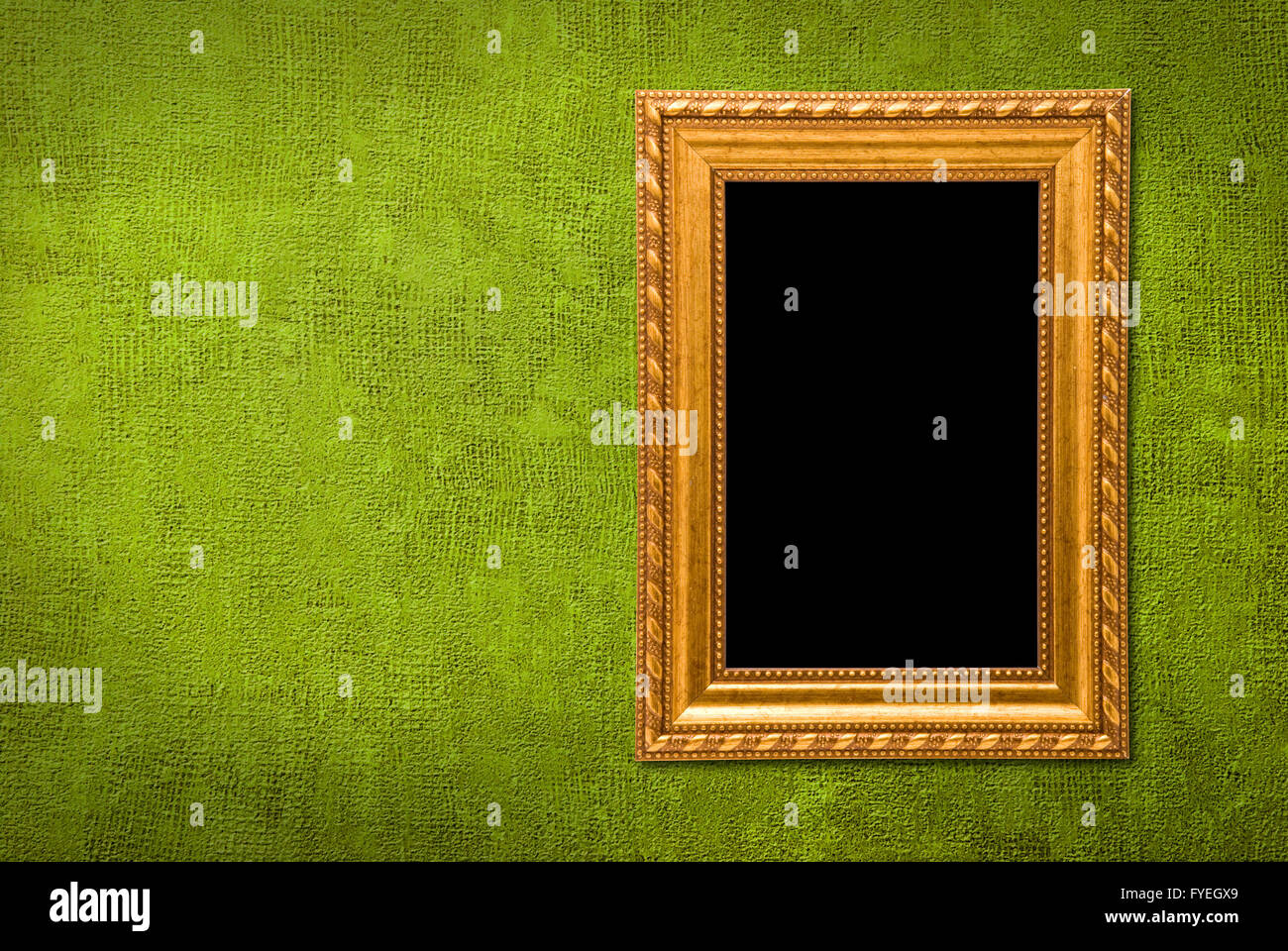 Gold Frame On A Green Wall Background Stock Photo 102968161 Alamy