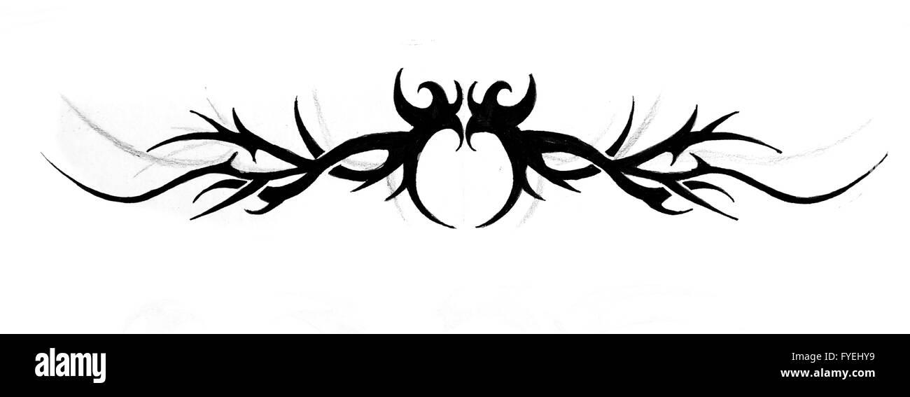 Sketch of tattoo art, tribal design - Stock Image