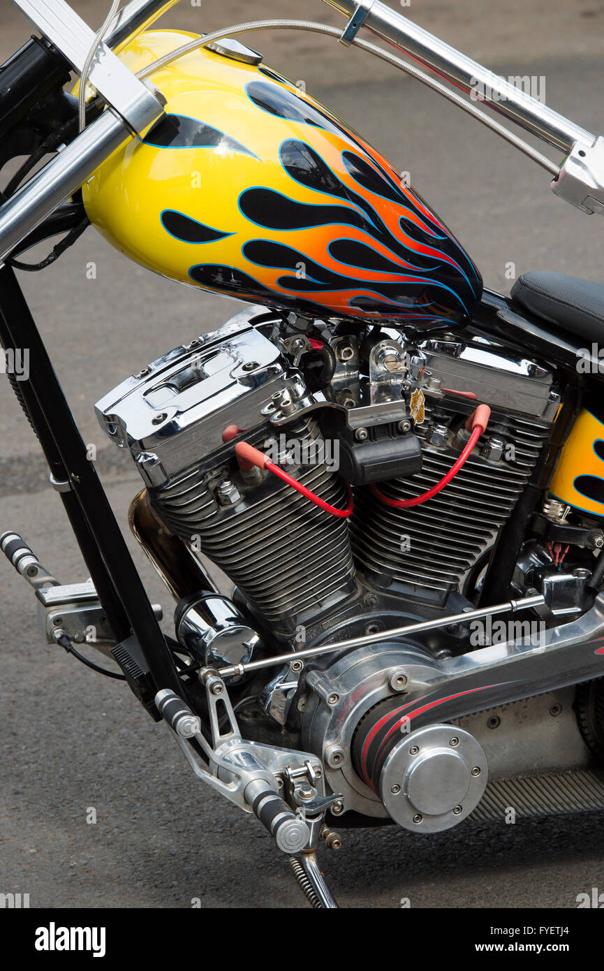 Custom Harley Davidson chopper motorcycle at a bike show in England - Stock Image