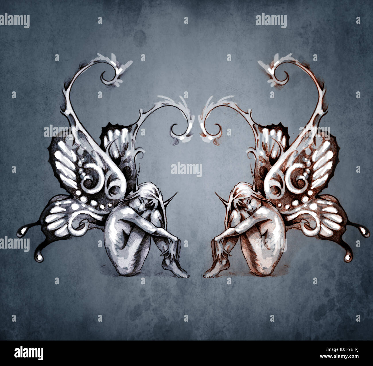 Duality concept tattoo, two  fairy on blue vintage background - Stock Image