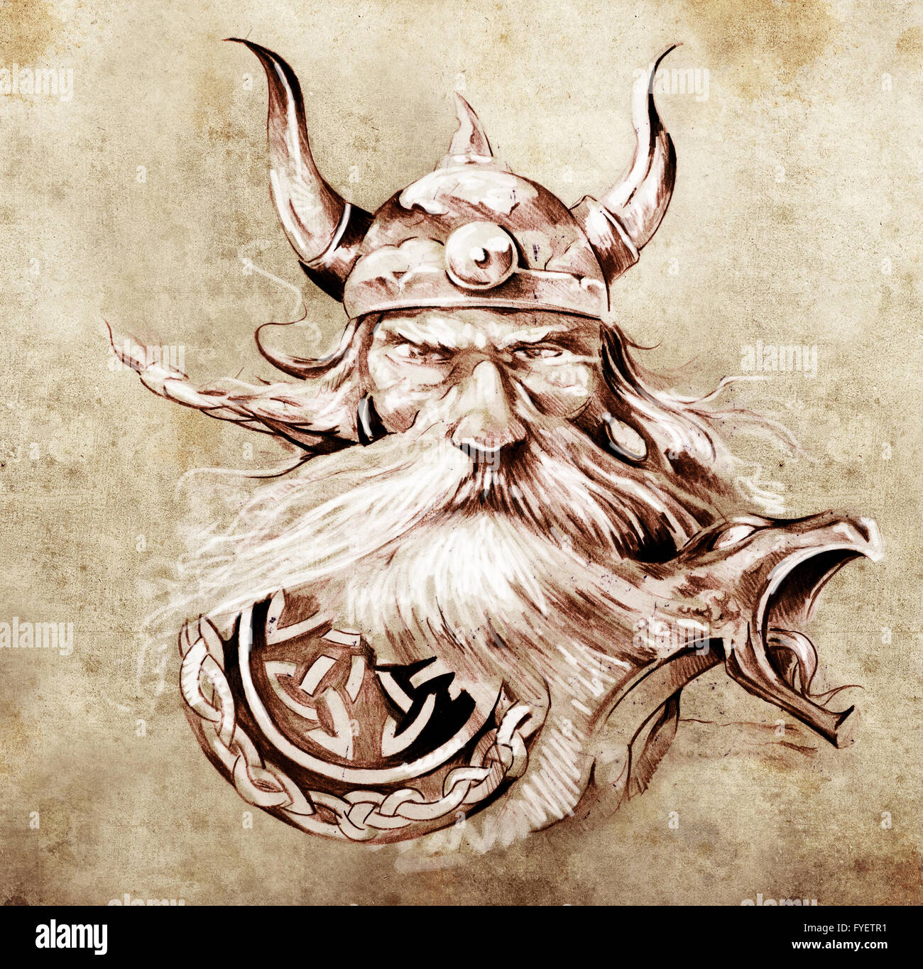 Tattoo art, sketch of a viking warrior, Illustration of an ancient wooden figurehead on a Viking longboat - Stock Image