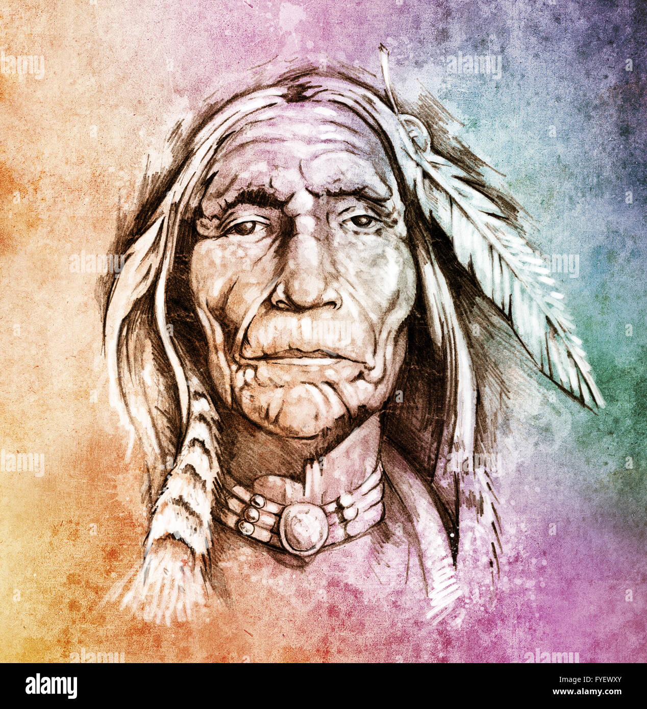 Sketch of tattoo art, portrait of american indian head over colorful paper - Stock Image