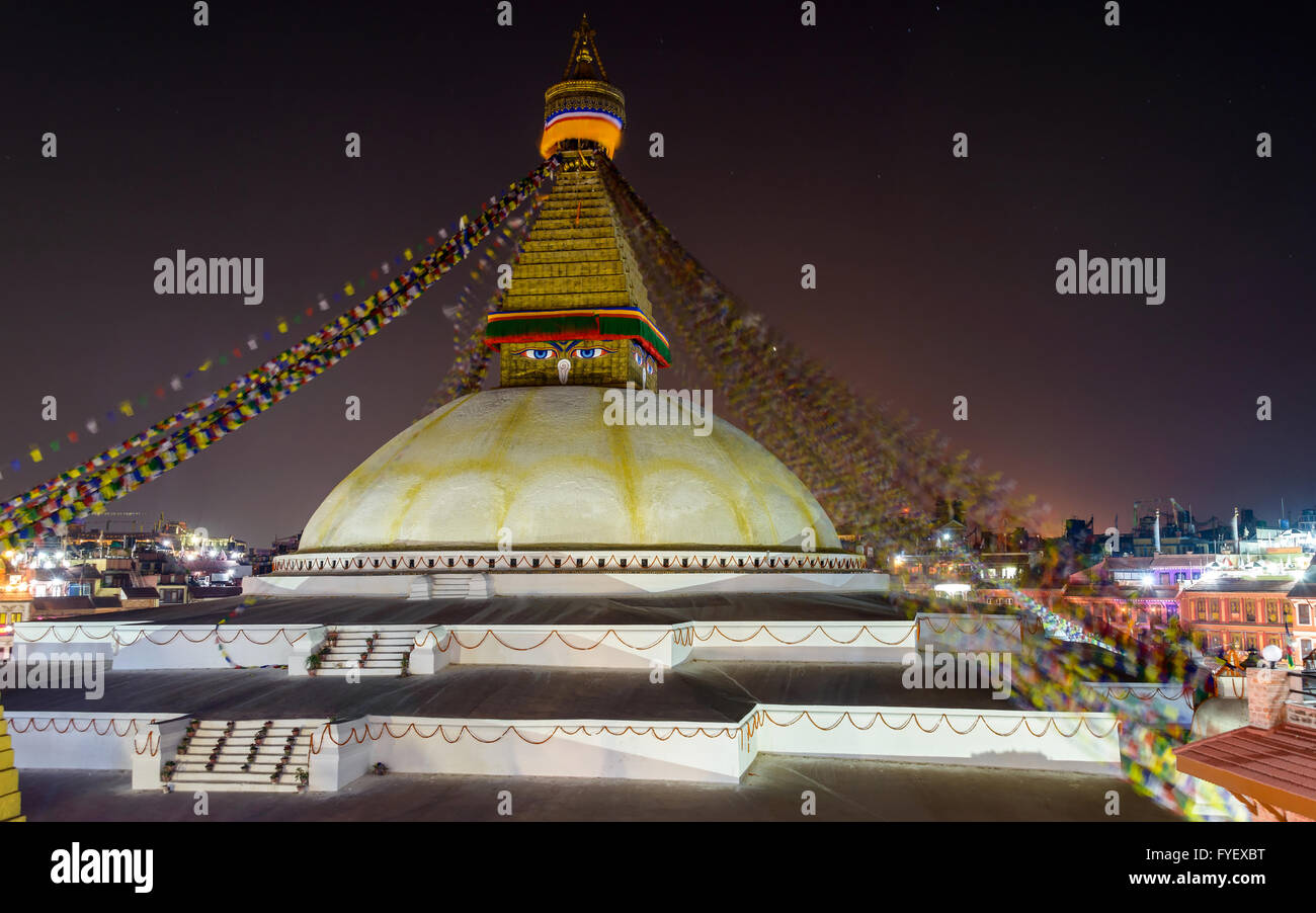 Boudhanath stupa at night in Kathmandu, Nepal - Stock Image