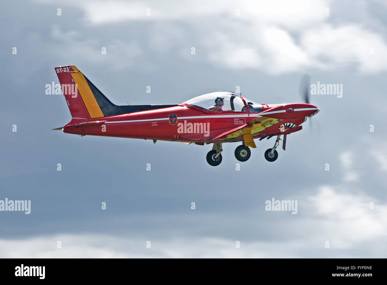SIAI Marchetti SF260 of the Belgian Air Force Red Devils Display Team - Stock Image