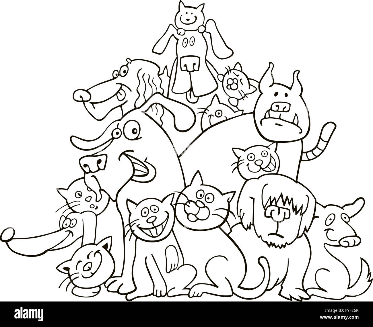 Cats And Dogs For Coloring Book
