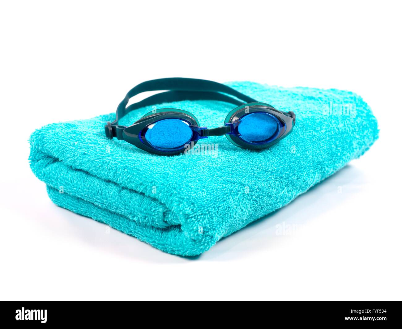 Swimming goggles isolated against a white background - Stock Image