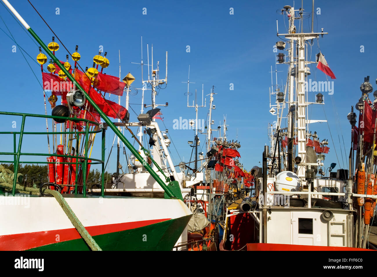 Ships close up in a harbor - Stock Image