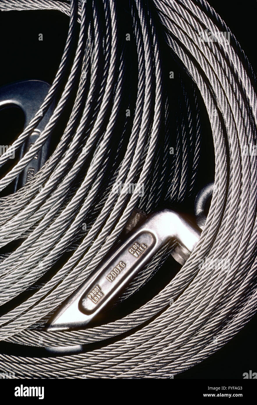 Coiled stainless steel wire cable - Stock Image
