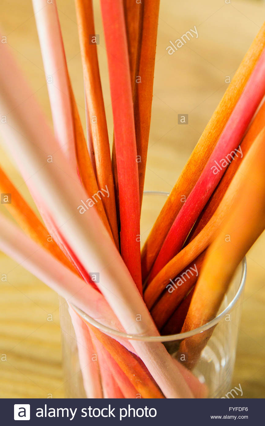 Severl orange and red, long and slender, clindrical objects in a glass - Stock Image