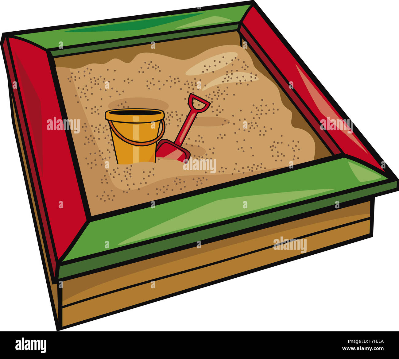 sandbox with toys - Stock Image