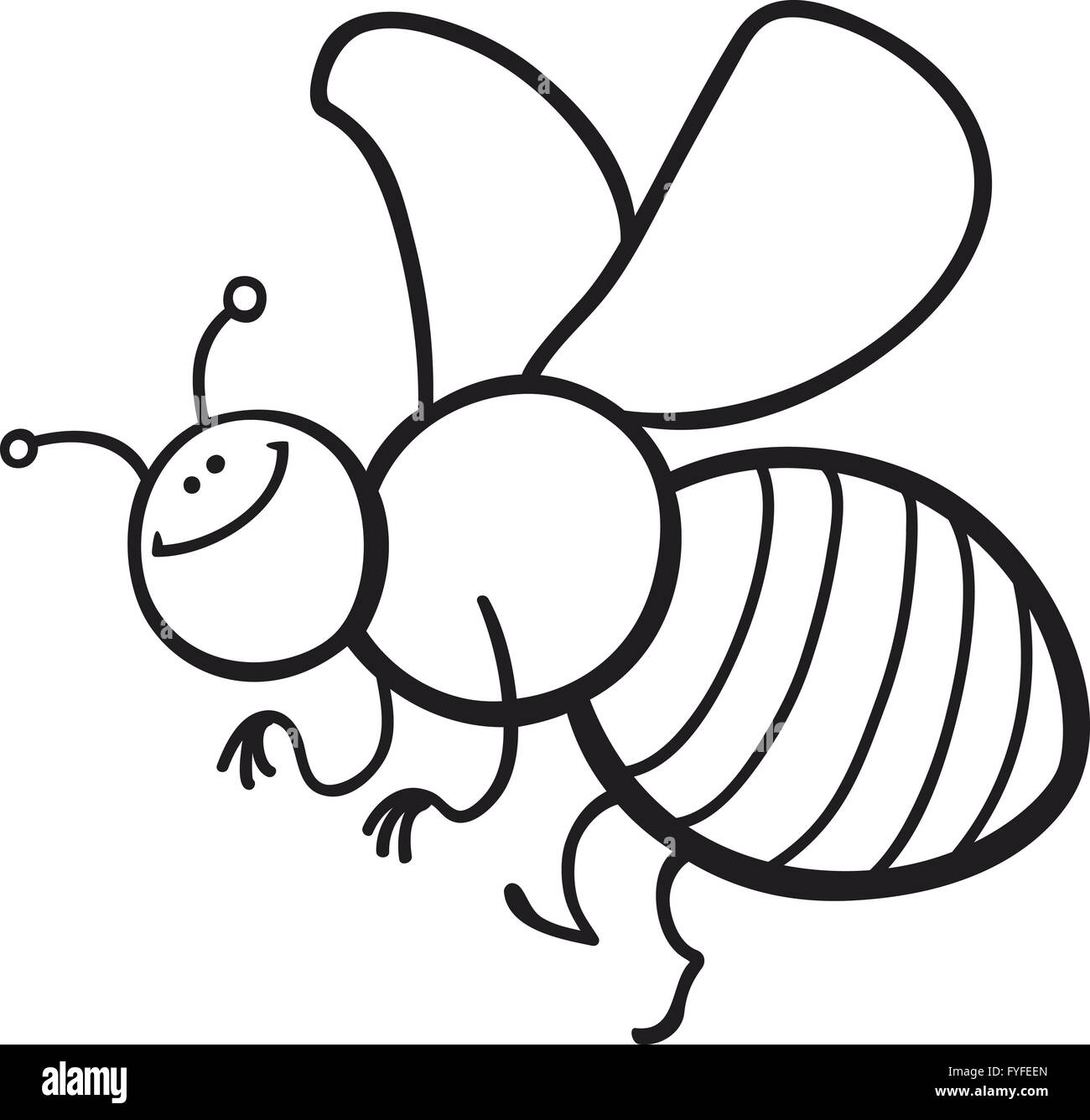 Cartoon Bee Coloring Page Stock Photo Alamy