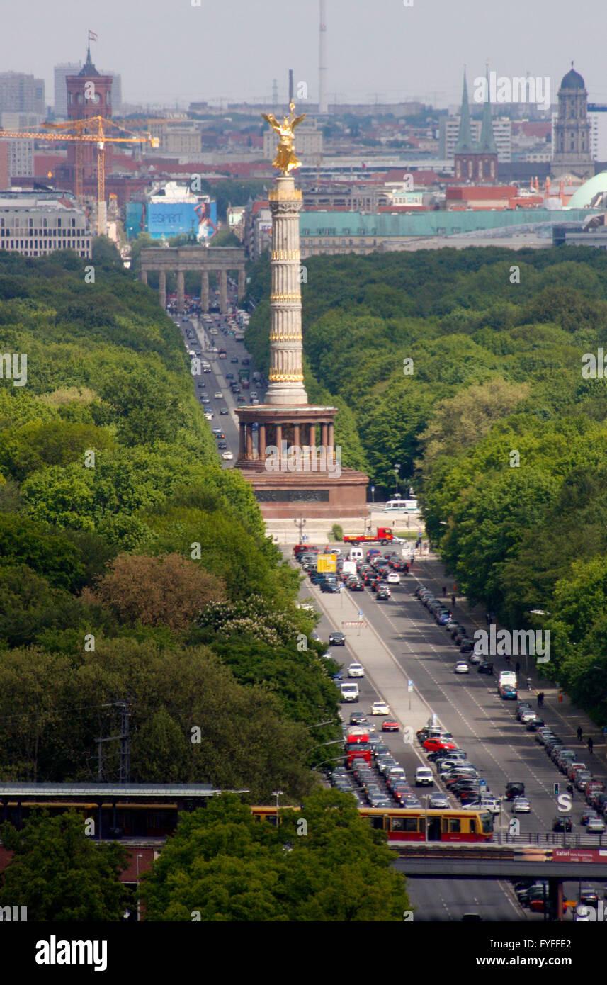 Luftbild: Grosser Stern mit Siegessaeule, Berlin-Tiergarten. - Stock Image