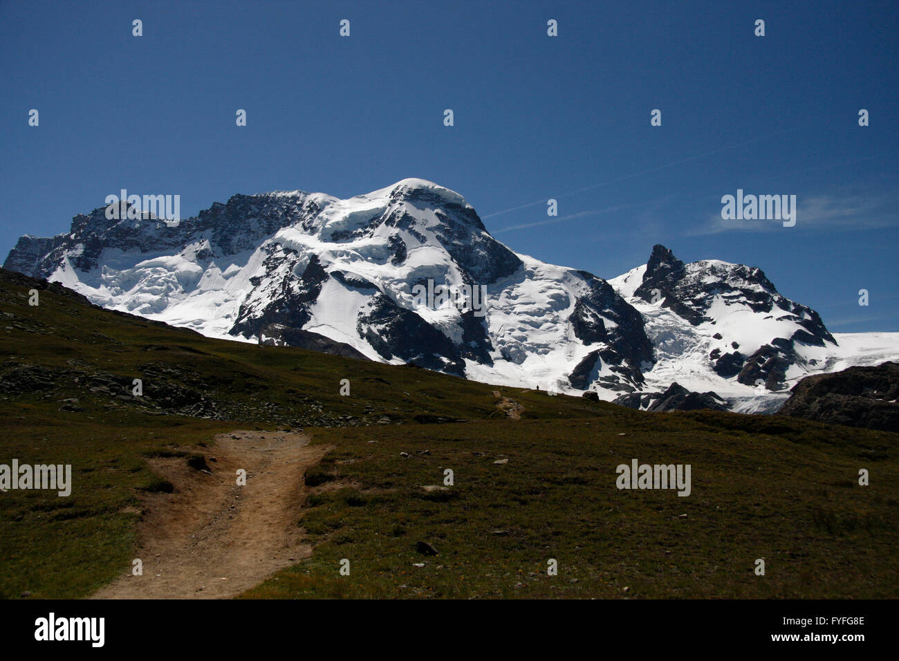 Castor und Pollux, Breithorn und das kleine Matterhorn. - Stock Image