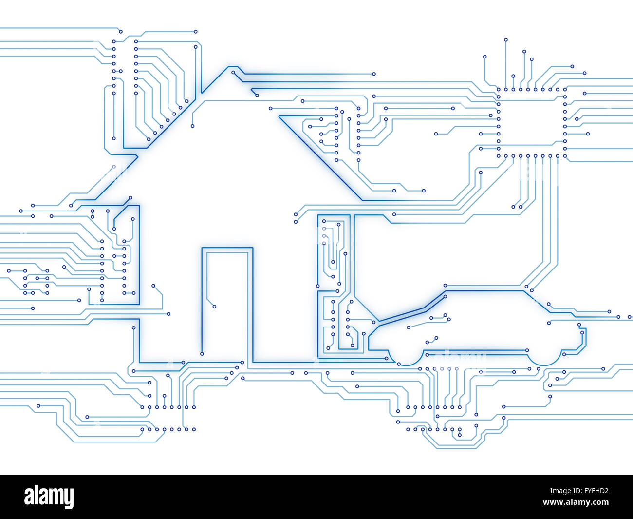 Connected house and electric car, future home, illustration - Stock Image