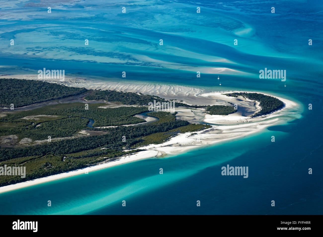 Moon Point and Sandy Point, beach in front of sandbars in the Pacific, west tip of Frazer Island, Queensland, Australia - Stock Image