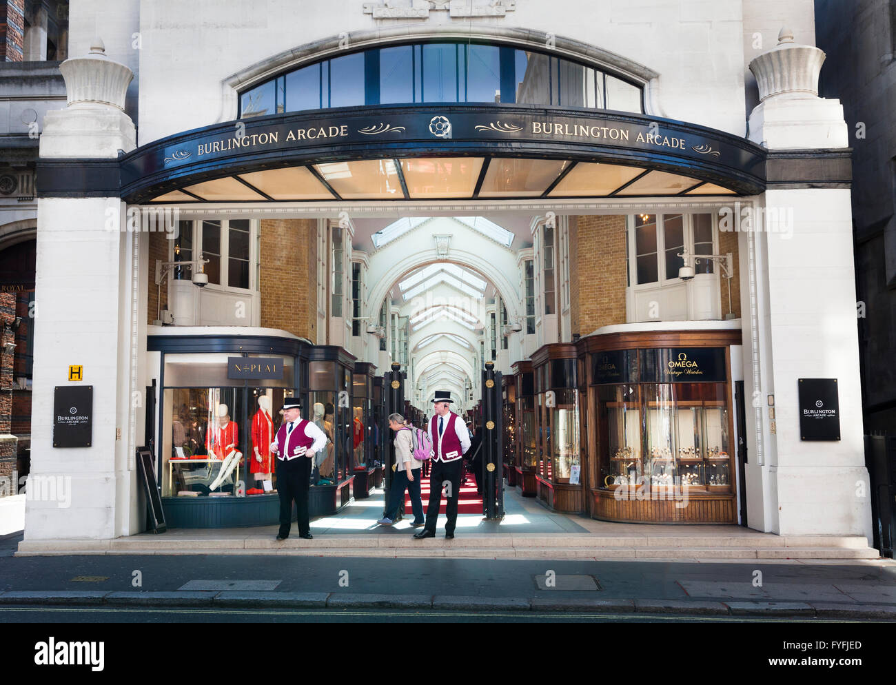 Burlington Arcade entrance from Burlington Gardens, London, Greater London, England, United Kingdom - Stock Image
