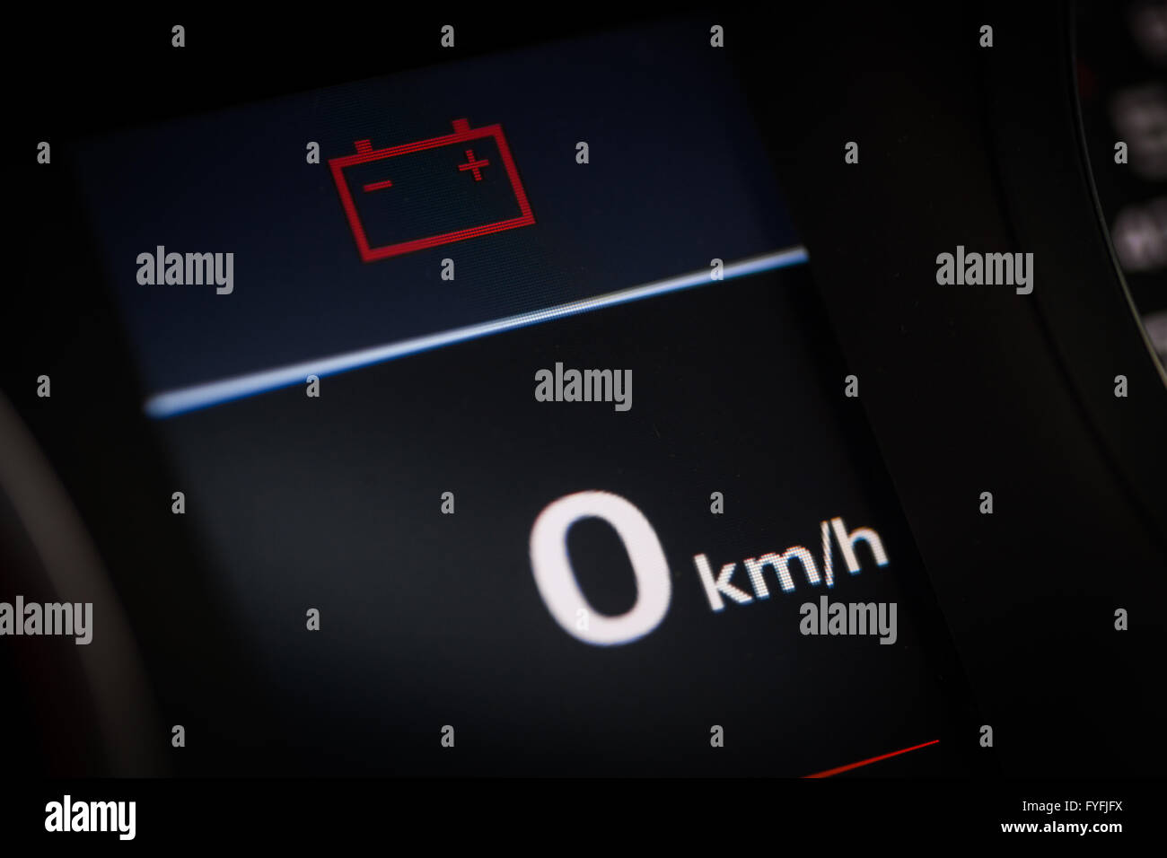 Color Detail Of The Battery Warning Symbol In A Car Stock Photo