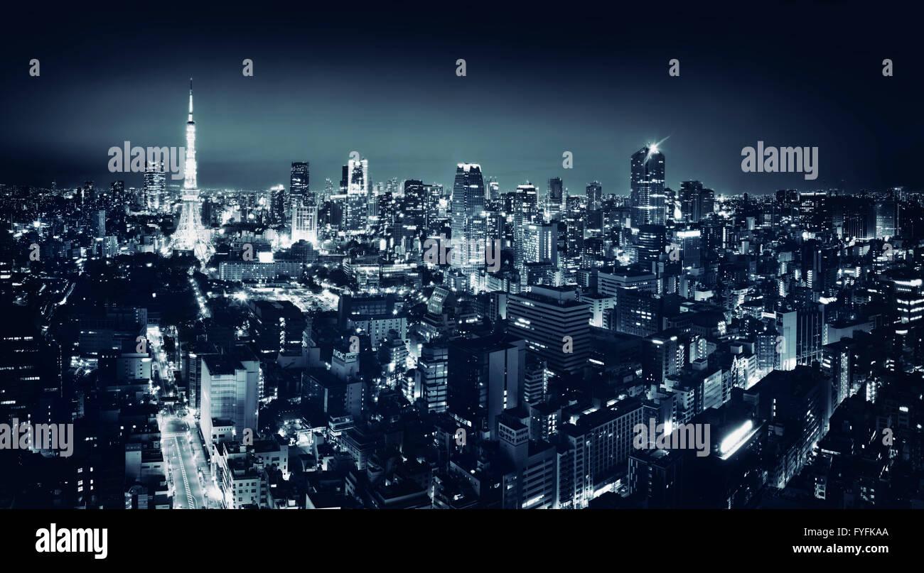 Cityscape at night, Minato, Tokyo, Japan Stock Photo
