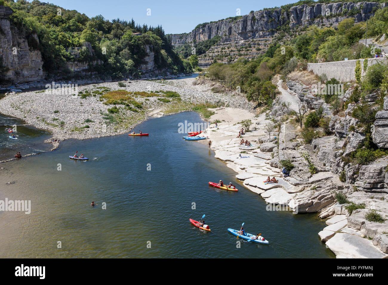 River Ardèche at Balazuc, Ardèche, France - Stock Image