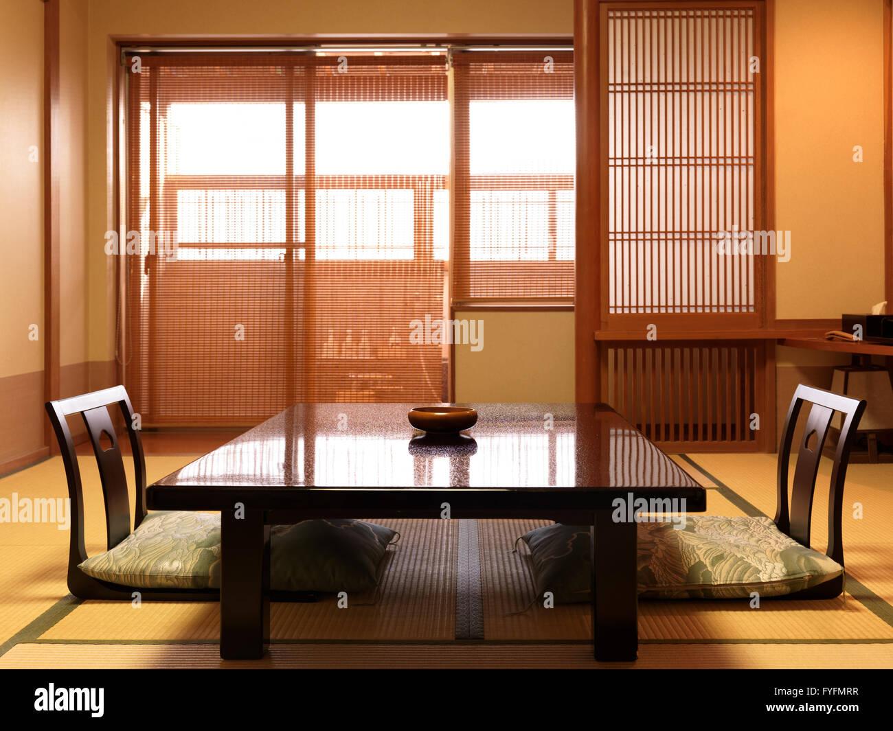Chabudai Tea Table And Zaisu Legless Chairs At Traditional Japanese Room Of  A Ryokan Hotel,