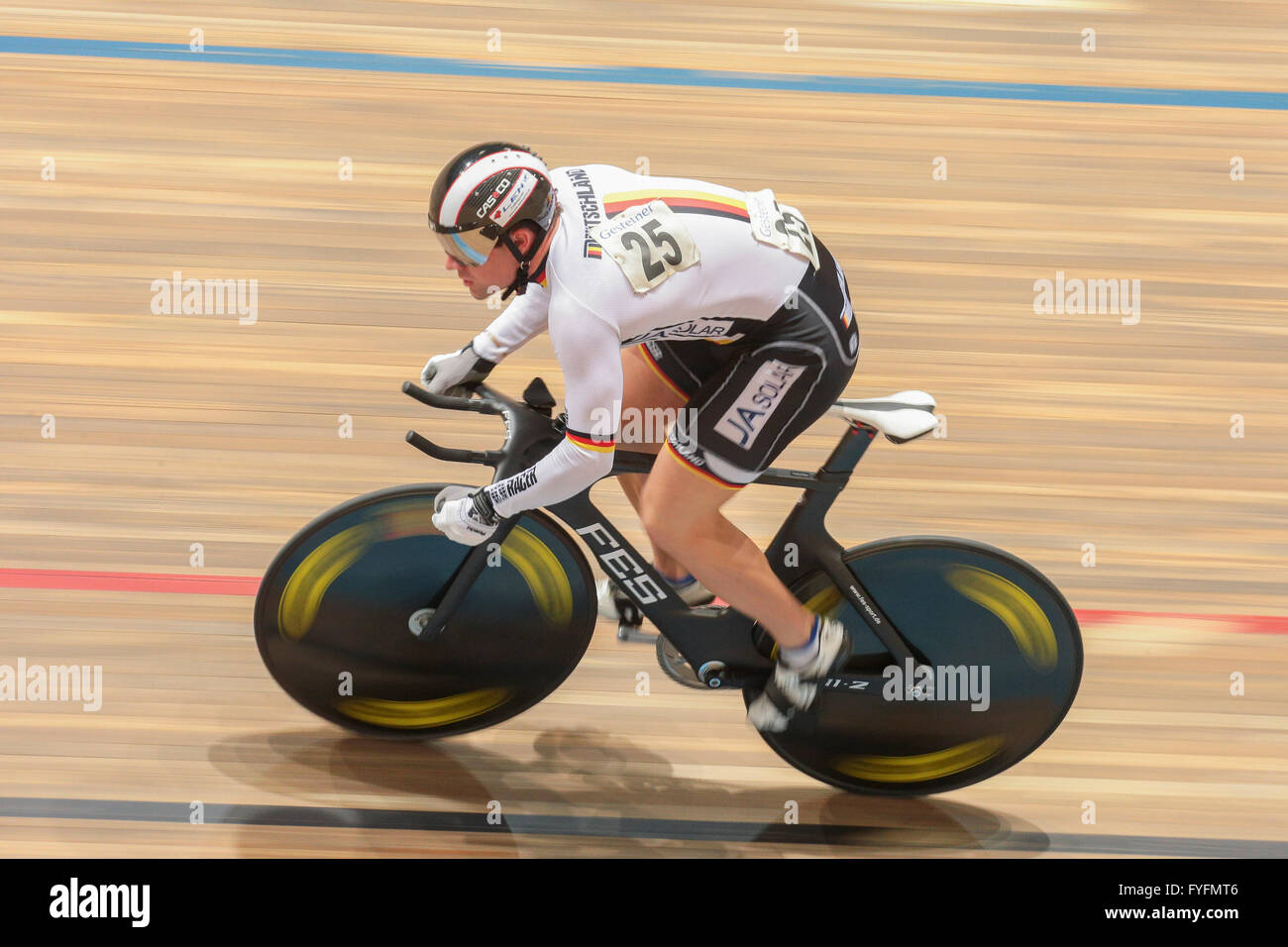 Tobias Wächter, Germany, places second in the men's elite kilometre time trial finals at the GP Vienna - Stock Image