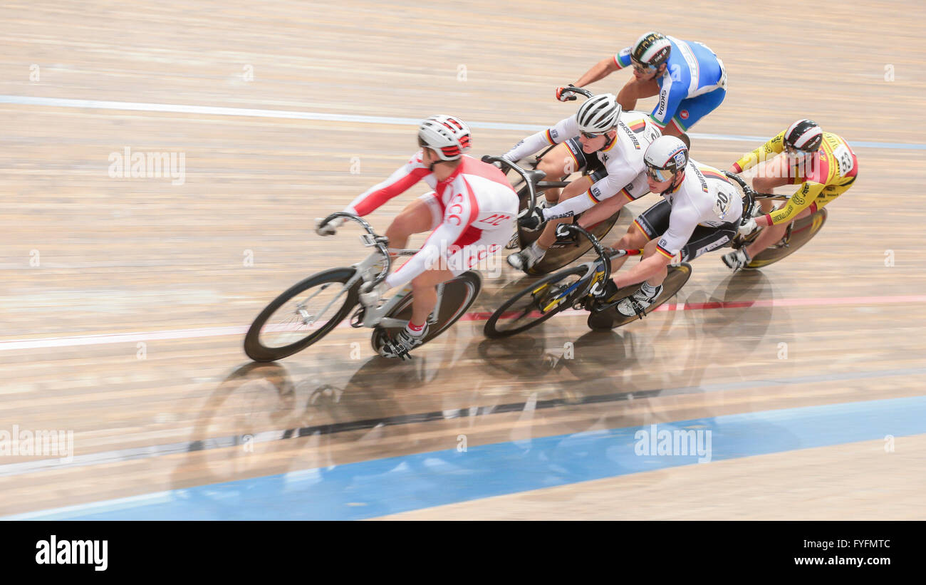 Erik Balzer, No. 20 Germany, places 8th in men's elite keirin qualification at the GP Vienna 2013, Ferry-Dusika - Stock Image