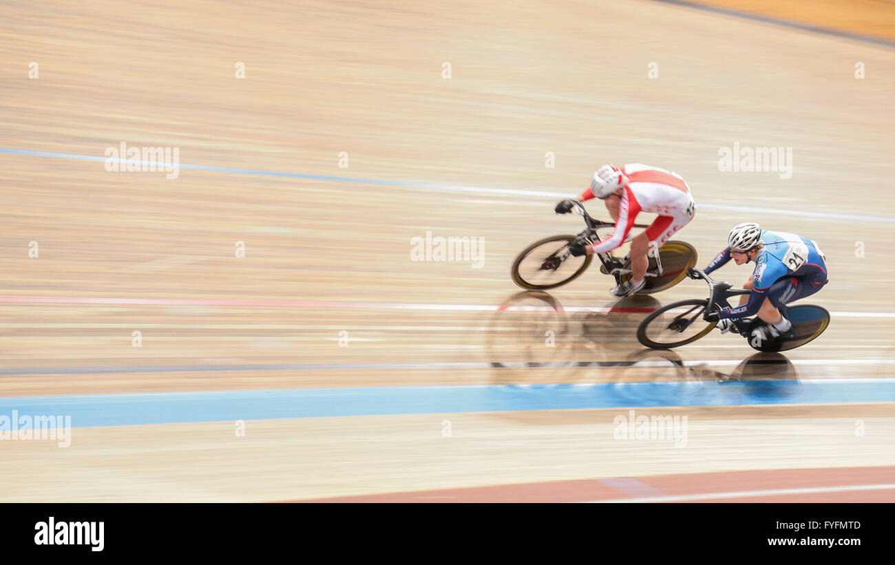Stefan Bötticher, No. 21 Germany, wins the men's elite keirin qualification at the GP Vienna 2013, Ferry - Stock Image