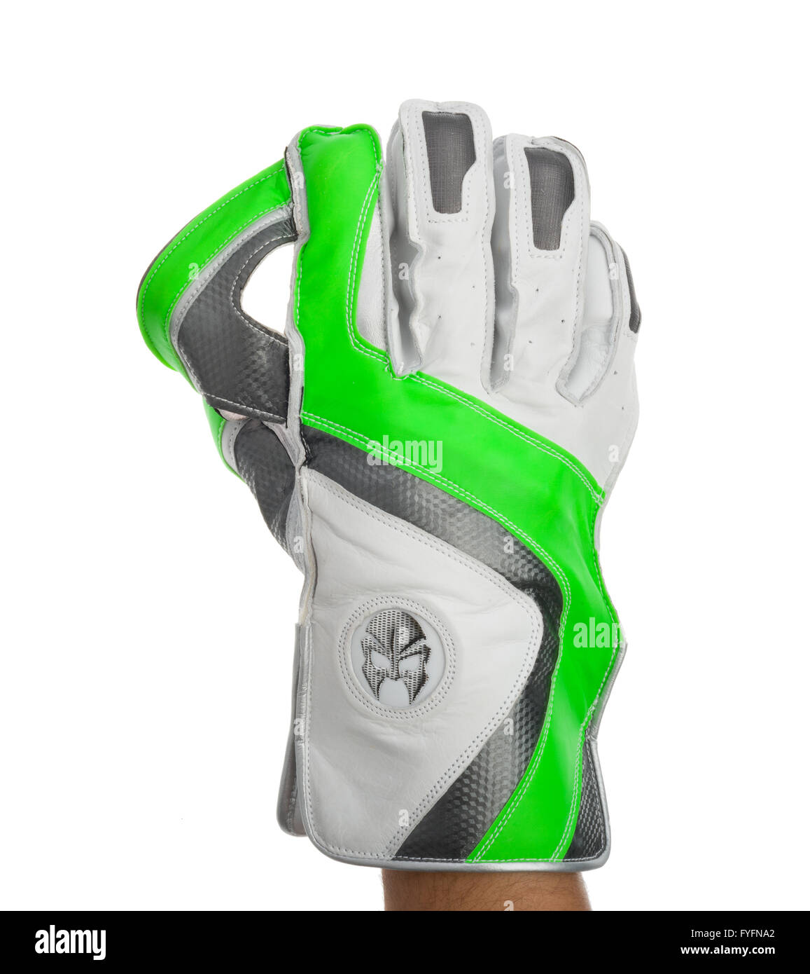 Wicket keepers glove. Cricket gloves. Hand protection. Sportswear. - Stock Image