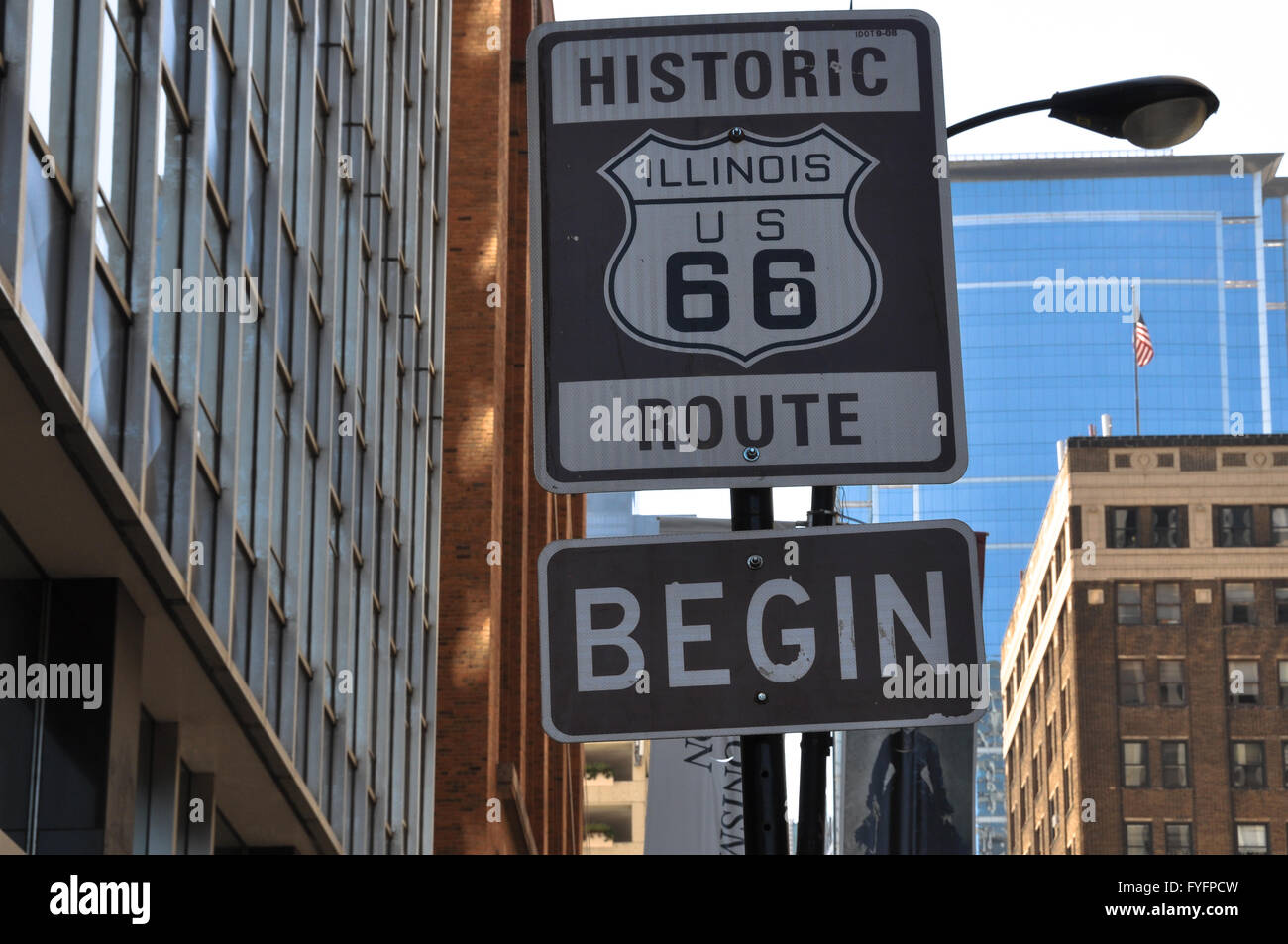 begin route 66 sign, chicago stock photo: 102994441 - alamy