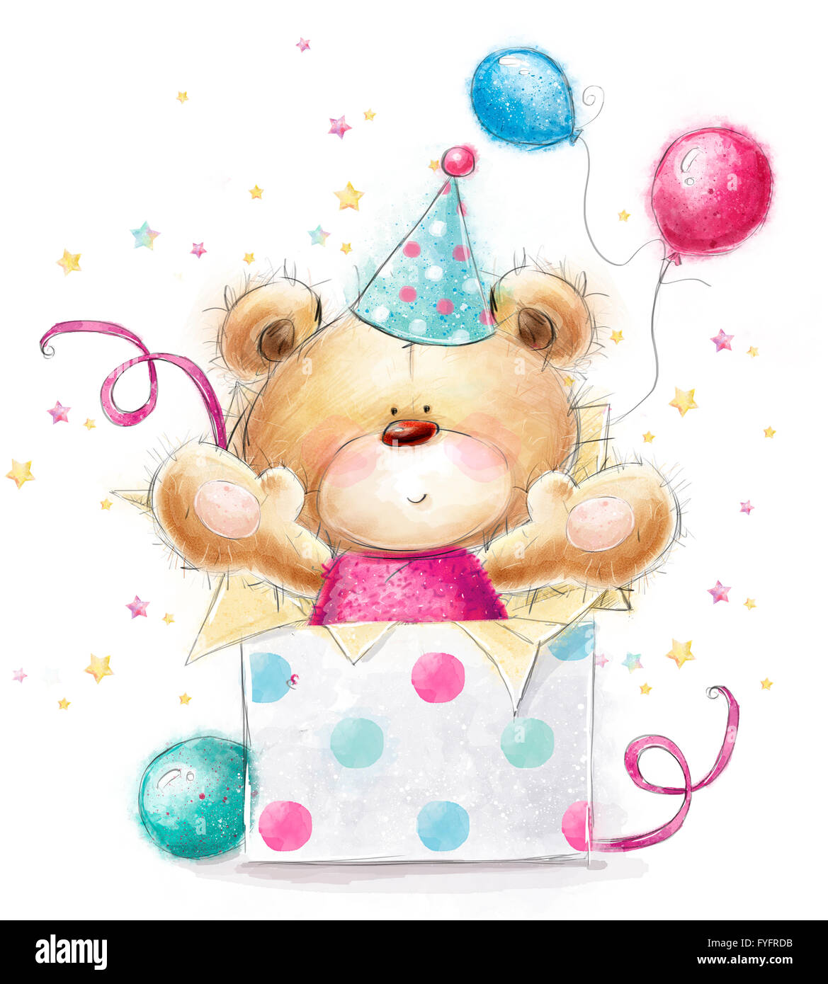 Teddy bear with the gift.Happy Birthday card.Background with bear ...