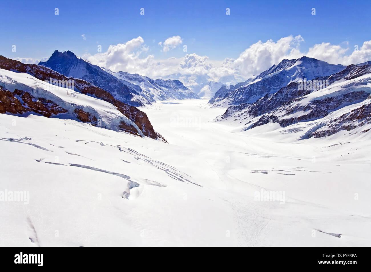 Landscape of Great Aletsch Glacier Jungfrau region - Stock Image