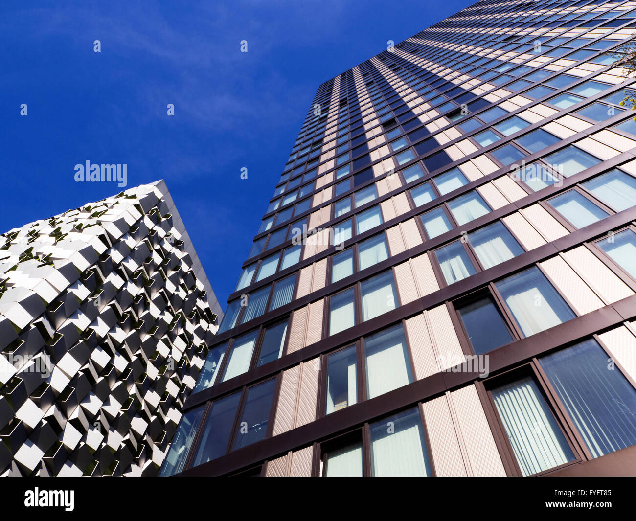 Tower Block and Cheesegrater Building in Sheffield South Yorkshire England - Stock Image