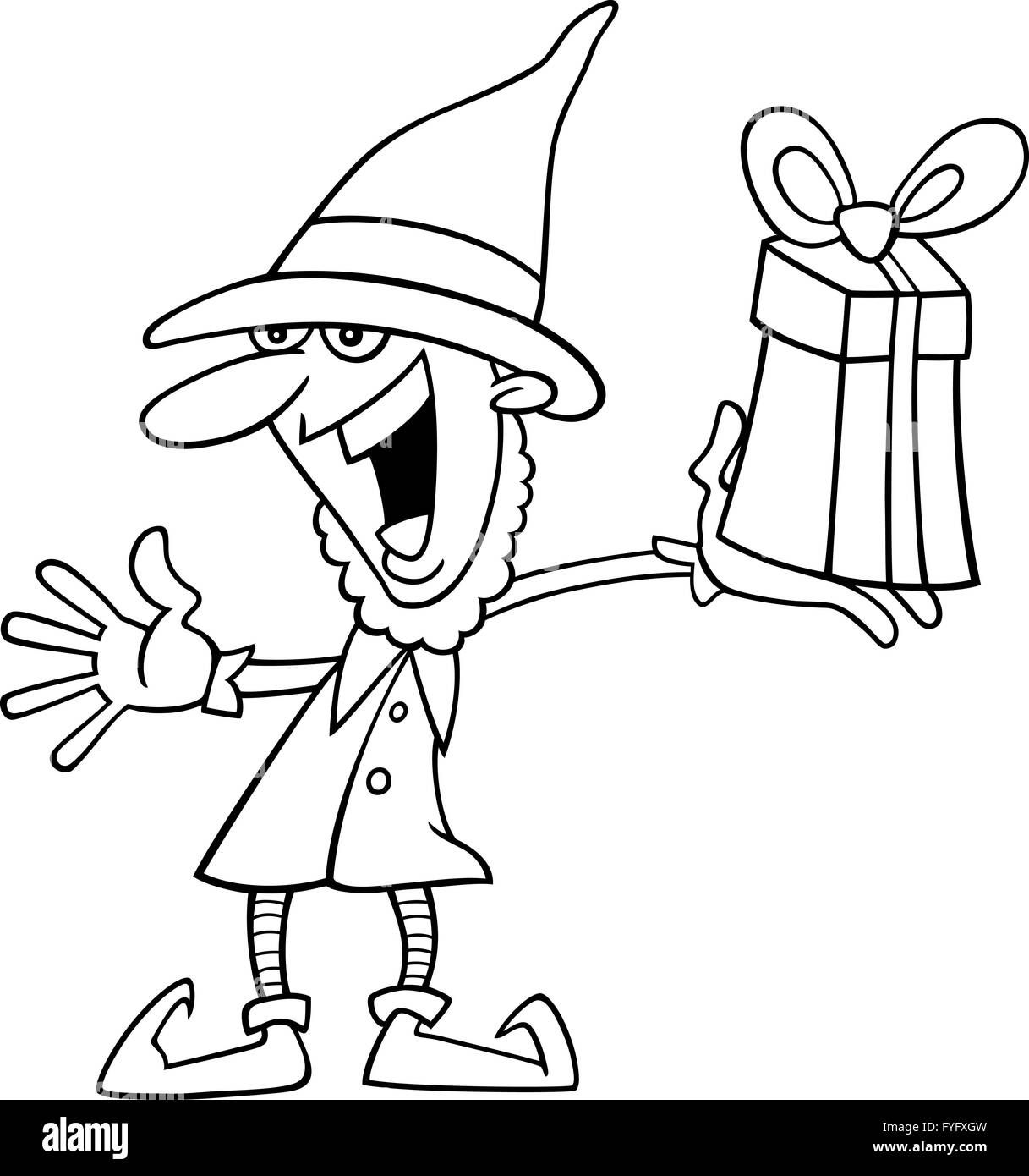 christmas elf for coloring book - Stock Image